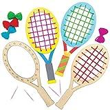 Baker Ross Kits de tissage Raquettes de tennis en bois - Fournitures créatives d'art et d'artisanat pour les enfants à créer et décorer (Paquet de 4)