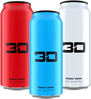 3D Energy Drink | Caffeine, Zero Sugar, Taurine, Panax Ginseng, Inositol, Guarana Seed, L-Carnitine Tartrate, 16 Fluid Ounce | 3 Pack (1 of Each: Blue, Red, White)