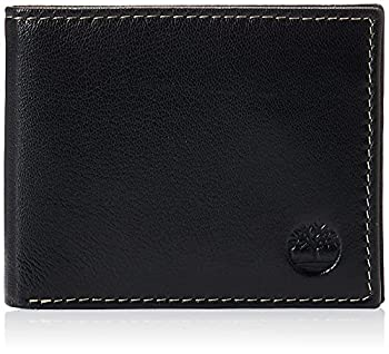 Timberland Men s Leather Wallet with Attached Flip Pocket Black  Blix  One Size