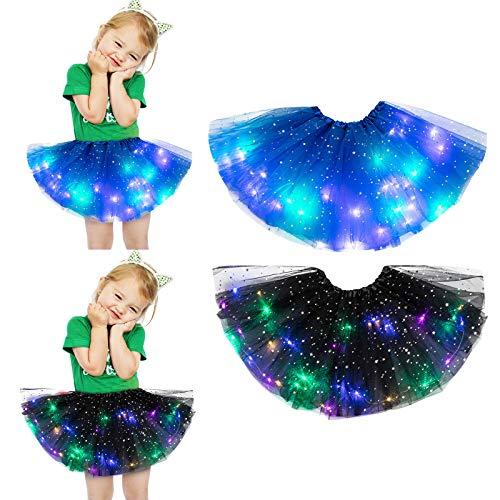 Kleiner Mädchen Tutu Rock 2 pcs LED Licht leuchtenden Prinzessin Sterne Pailletten Tütü Rock Petticoat Tüllrock Ballkleid Abendkleid Ballettrock Dancewear Ballett (E, 2pcs(2-8 Jahre alt))