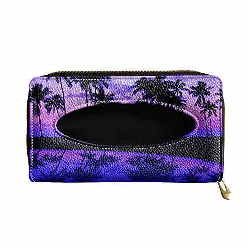 Dolyues Hawaii Sunset Coconut Tree Printed Tissue Holder Box, Purple Car Accessories for Storaging Tissue, Hanging Car Sun Visor Tissue Case Paper Towel Clip, Leather Backseat Napkin Decor