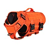"ICEFANG Tactical Dog Operation Harness with 6X Buckle,Dog Molle Vest with Handle,3/4 Body, Hook and Loop Panel for ID Patch,No Pulling Front Clip (L (Neck 17""-24""; Chest 28""-35""), Safety Orange)"