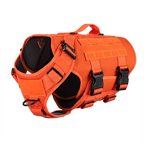 """ICEFANG Tactical Dog Operation Harness with 6X Buckle,Dog Molle Vest with Handle,3/4 Body, Hook and Loop Panel for ID Patch,No Pulling Front Clip (L (Neck 17""""-24""""; Chest 28""""-35""""), Safety Orange)"""