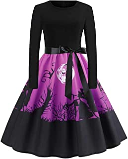 Long Sleeve Halloween Musical Notes Print Vintage Flare Dress