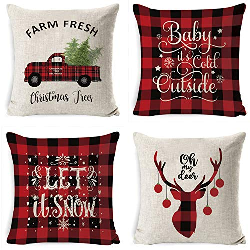 ASDQW Christmas Cushion Covers,4Pcs Soft Square Pillow Case With Elk Christmas Tree Print Pattern Red Cushion Covers For Garden Bedroom Christmas Home Decorative,45X45Cm