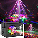 Missyee DJ Lights 4 in 1 Mixed Effect LED Pattern Lights Strobe Light, Sound Activated Stage Lights Compatible with DMX Control for Home Dance Wedding Event Party Festival