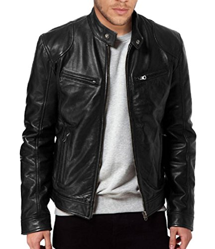 The Leather Factory Men's SWORD Black Genuine Lambskin Leather Biker Jacket 2XL Black