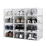 Meerveil Lot de 12 Boîte à Chaussures, 33.5 x 23 x 14 cm Boîte de Rangement Transparent et Pliable pour Chaussures, Boîte de rangement amovible à tiroir , Etagère à chaussures
