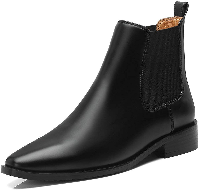 AngXinLing Mode Ankle Chelsea stövlar kvinnor kvinnor kvinnor low Stacked Block Heel Real läder Pointed Toe Elastisk Slip På Business Work stövlar  billig butik