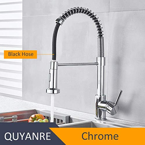 5151BuyWorld waterkraan, mat, keukenspoelbak, zwart, waterkraan, keukenkraan, 360 graden mengkraan, rotatie Chroom.