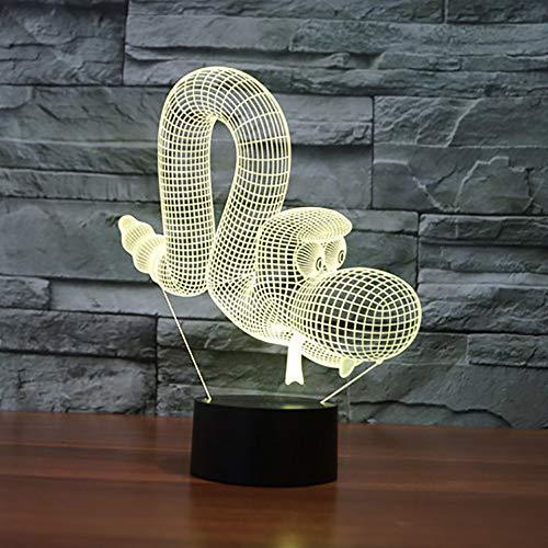 MCJDF Creatieve 3D-tafellamp in 7 kleuren, acryl dier, slangenvorm, led-ballon, hondennachtlampje, kindergeschenken, slaapverlichting, decoratie