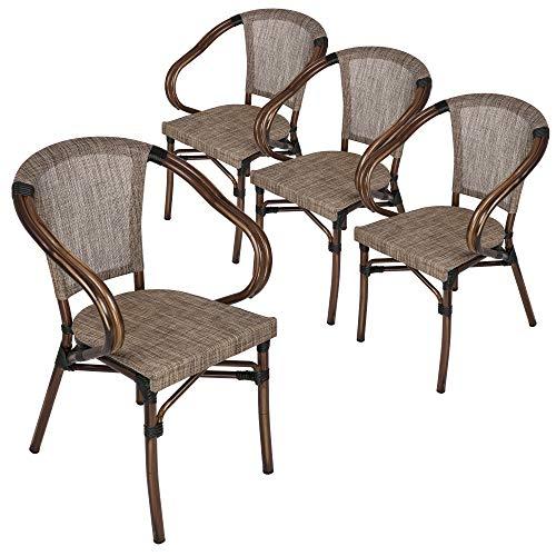 Koreyosh Patio Leisure Chair Set of 4 Outdoor Dining Chairs Patio Furniture,Indoor/Outdoor Restaurant Stack Chair Set,Grey & Brown