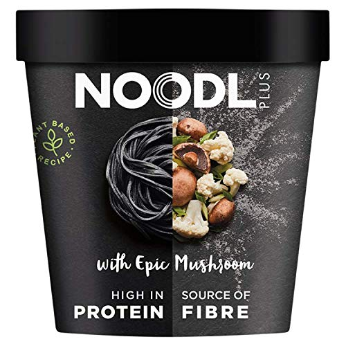 Noodl Plus Pot Noodles | High in Protein | Plant Based Noodles | Only 282 Calories Per Pot | Vegan Noodles | (Pack of 6 Pots) | (Charcoal Noodles with Epic Mushroom)