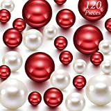 Hicarer 120 Pieces Pearl for Vase Filler Pearls Bead for Vase Makeup Beads for Brushes Holder Assorted Round Faux Pearl Beads for Home Wedding Decor, 14/20/ 30 mm(Creamy White, Bright Red)