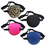 4 PCS Eye Patches, Soft Medical Eye Patch Adjustable Amblyopia Lazy Eye Patches, Pirate Eye Patches for Kids and Adults, 4 Color