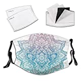 Comfortable Windproof mask,Bohemian Tattoo Style Zen Pastel Toned Mandala Abstract Lotus Flower Design,Printed Facial decorations for adult M(7.87X5.9inch)