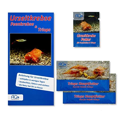 AQ4Aquaristik Futterpaket für Triops - 1 x Aufzuchtfutter für Urzeitkrebse und 2 x Hauptfutter für Triops - Optimales Futter mit pflanzlichen und tierischen Bestandteilen