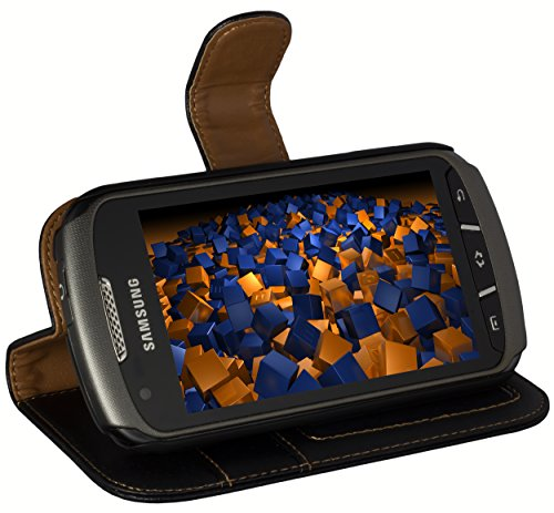 mumbi Echt Leder Bookstyle Case kompatibel mit Samsung Galaxy Xcover 2 Hülle Leder Tasche Case Wallet, schwarz