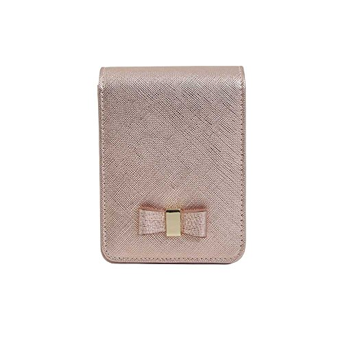Genuine Leather Cigarette & Lighter Case Cosmetic Pouch with Mirror Rose Gold