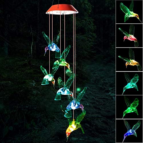 Wind Chime, Hummingbird Wind Chimes Outdoo, gifts for mom, hummingbird wind chime, solar wind chimes,mom gifts,birthday gifts for mom,grandma gifts,gardening gift,plastic hangers,outdoor decor