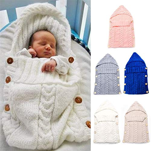 Munsif Ali Saco de Dormir para bebés recién Nacidos Fibras acrílicas Sudaderas con Capucha Envoltura de pañales Gruesa y cálida Manta de Dormir para bebés Suéter de pañales