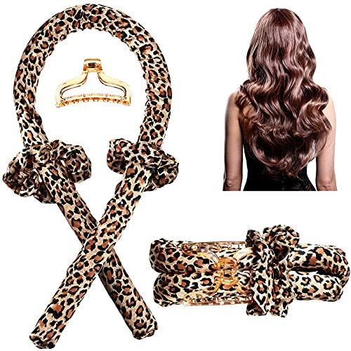 4 Pieces Heatless Curling Rod Headband No Heat Curls Ribbon Hair Rollers Soft Foam Hair Rollers Curling Ribbon and Flexi Rods DIY Hair Styling Tools for Natural Long Medium Hair