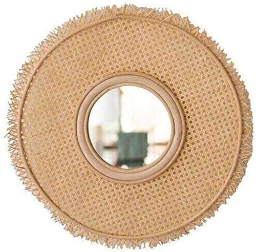 HOUSEHOLD Rattan Hangende Spiegel Make-up Spiegel Cirkel Wandmontage Vanity Make-up Decoratieve Spiegelhouder Vlak Spiegel Handgemaakte Bamboe Wijnstok 76cm WHLONG
