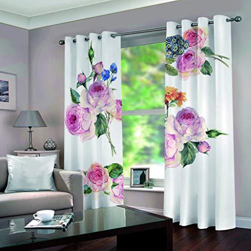 DOMDIL Vorhang Blickdicht mit Ösen Gardine für Schlafzimmer, Kinderzimmer 2 Stück 132cm*160cm Verdunkelungsvorhänge farbige Vorhänge,Blumen