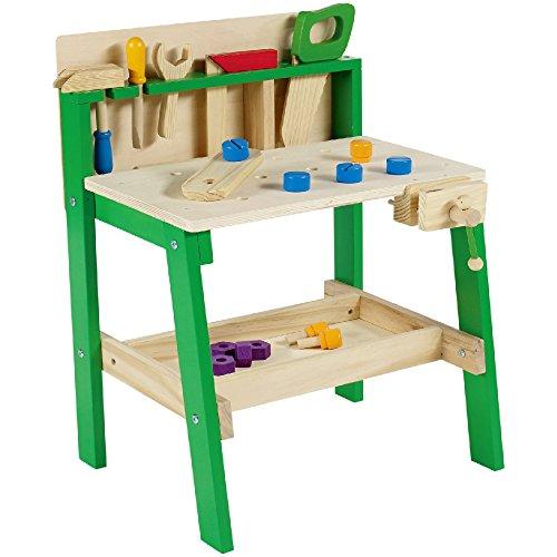 Leo & Emma - Banco de trabajo infantil con herramientas de madera lacada en verde, 30 piezas, banco de trabajo para niños de madera, banco de madera para niños – Fabricado y barnizado de alta calidad.