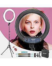 Neewer RL 18II tweekleurig 18 inch LED-ringlicht met standaard 55W dimbaar licht met max. 61,8 inch standaard en draagtas voor live stream make-up selfie YouTube video-opnames