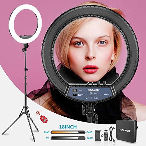 Neewer RL 18II Zweifarbiges 18 Zoll LED Ringlicht mit Ständer 55W Dimmbares Licht mit max. 61,8 Zoll Ständer und Tragetasche für Live Stream Make-Up Selfie YouTube Videoaufnahmen