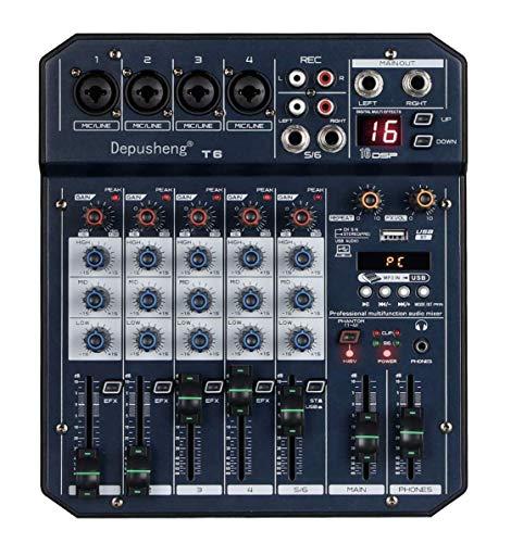 Depusheng T6 Audio Mixer 6-CHANNEL DJ Sound Controller Interface with USB Soundcard for PC Recording, XLR Microphone Jack PLUS HEADPHONE JACK, 5V USB Power CONNECT,FX 16Bit DSP Processor