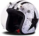 Caschi Cromwell Jet e Demi-Jet Brain - cap Casco Moto Retro 3/4 Leggero Harley Moto Cruiser Chopper Pilot Bike Casco Aperto Unisex Certificato DOT/ECE per Adulto,A-L=(59~60cm)