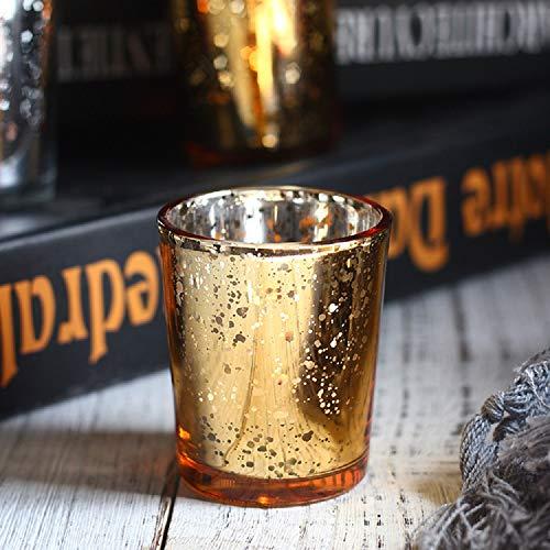 12 St Teelichthalter galvanisierter Glaskerzenständer Kerzenhalter für Hochzeit Geburtstagsfeiern Bar Restaurant Kerzenbecher Cafe Kerzenständer Weihnachts (12 Gold Teelichthalter)