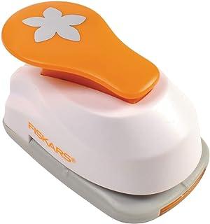 Fiskars Perforatrice à Levier Motif Fleur, Ø 2,5 cm, Pour gauchers et droitiers, Plastique/Zinc, Blanc/Orange, Lever Punch...