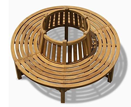 Teako Design Baumbank Fermo wetterfest Teakholz massiv Rückenlehne Außendurchmesser 240 cm, 360°