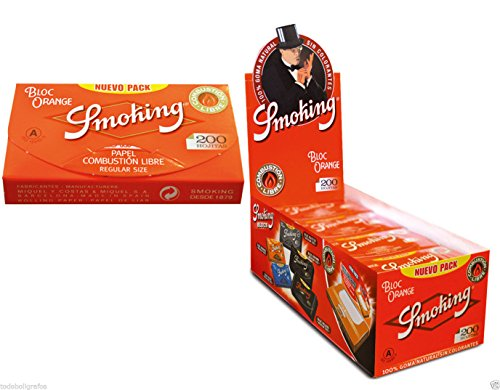 Smoking 200 naranja . caja completa. papel para liar tabaco . combusión rapida.