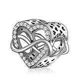 """EMEMcharm""""Amour Infini"""" Charms et Perles Argent 925 Cœur Drops Cristal Pour Bracelet Pandora GM12-27 (Cœur infini)"""