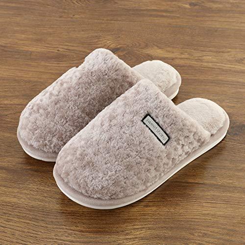 Zapatillas de Interiorcálidas paraMujer, Amantes de Fondo Suave, Zapatillas de algodón para el hogar,Zapatos de Invierno para Mujer, Hombre, casa, Diapositivas para el Suelo