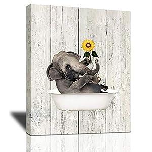 Sunflower Elephant Canvas Wall Art, Animal Elephant Bathing In the Bathtub Soild Wood Framed Modern Artwork for Bathroom, Decor for livingroom Bedroom for Home Decoration Ready To Hang- 12''X16''