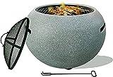 ZCYY Braciere da Esterno, Tavolo da pozzo Rotondo sferico, Riscaldatore per Patio con Coperchio, Braciere Rotondo per Barbecue da Esterno, Stufa in Pietra Artificiale, con griglia a ret