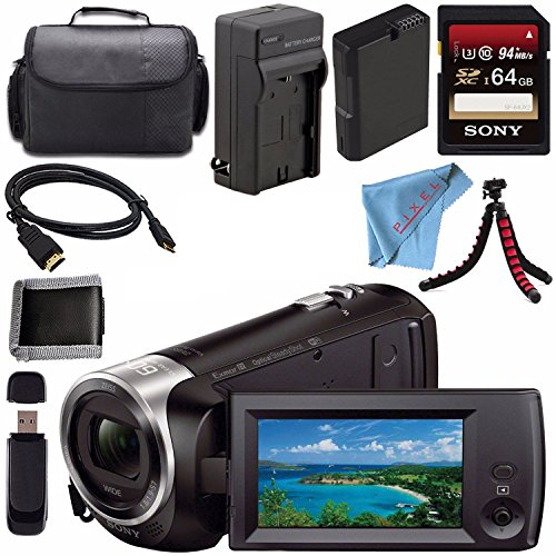 Sony HDR-CX440 HDR-CX440/B HD Handycam with 8GB Internal Memory + Rechargable Li-Ion Battery + Charger + Sony 64GB SDXC Card + Case + Tripod + HDMI Cable + Card Reader + Fibercloth Bundle
