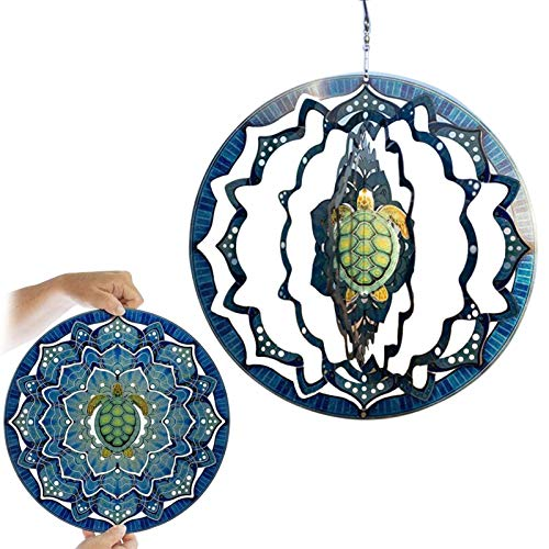 duhe189014 25cm 3D Meeresschildkröte Form Wind Spinner, Edelstahl Garden Decor Wind Spinner, Home Mandala Dekor Ornament, Rotierende Kunst Hängende Wind Spinner