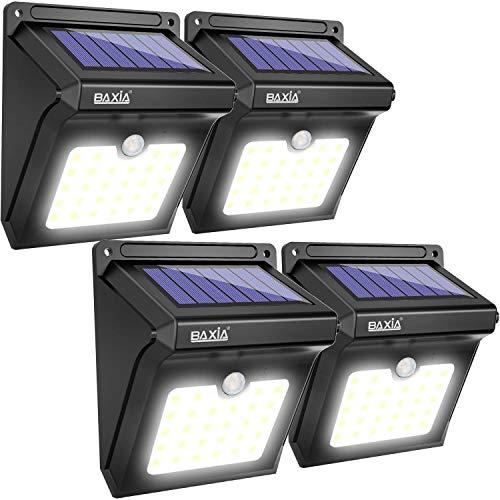 BAXiA Luz Solar Jardín, Luces Solares LED Exterior Impermeable, Focos LED Exterior Solares con Sensor de Movimiento, Lámparas Solares para Jardín Muros Exteriore Patios Terrazas