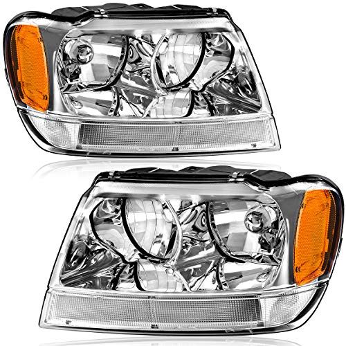 OEDRO Headlight Assemblies Compatible with 1999-2004 Jeep Grand Cherokee 4-Door, Upgraded Amber Reflectors Crystal Clear, Chrome Housing (Driver & Passenger Side)