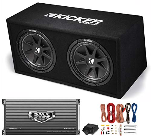 Kicker DC122 Dual 12' 600W Car Audio Subwoofers + Box + Boss 2000W Amp...