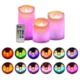 ACROSS Flickering Flameless Candles, Set of 3 Real Wax Color Changing LED Pillar Candles Battery Operated Realistic Dancing Flame Fake Candles with 18-Key Remote Control for Halloween Christmas Party