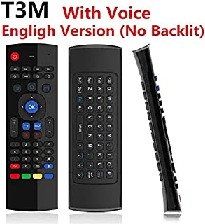 Calvas T3M Air Mouse 2.4G Wireless Mini Keyboard MX3 With Voice Backlit Russian Remote Control IR Learning Gyroscope For Android TV BOX - (Color: T3M Voice(English))