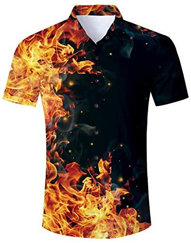 Spreadhoodie Männer Sommer Feuer Hemden Funky Freizeithemd 3D Flamme Druck Boom Hawaii Hemd und Shorts für Herren Jungen XXL