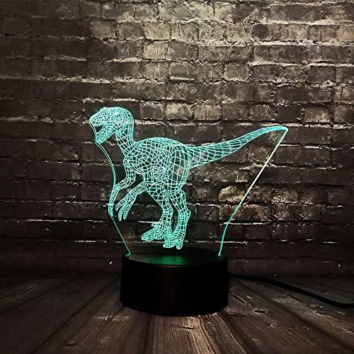 Kerstgeschenk lamp 3D nachtlampje 3D Animal Draak dinosaurus licht dinosaurus licht batterijaangedreven LED 7 kleuren opladen USB decoratie voor thuis Lava kinderen geschenk met afstandsbediening USB